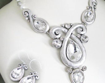 Rhinestone Vintage Inspired Necklace in Antique Brushed silver tone and Matching earring Set