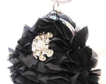 wedding clutch bridal clutch wedding purse bridal clutch wedding accessories bridal accessories Black Frilly Fabric