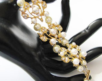 Gold Tone With Ivory Faux Pearls and  Crystals Bracelet Bridal Wedding Jewelry or Bridal Party