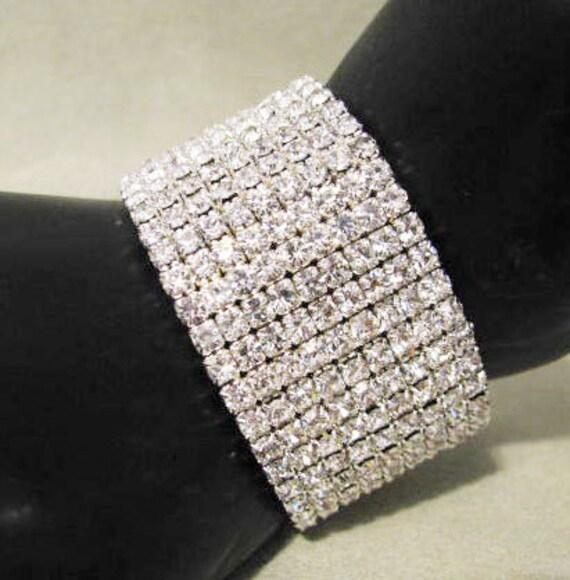 Clear Crystal Elements Stretch 9 Rows Wide Bracelet Great Wedding Jewelry