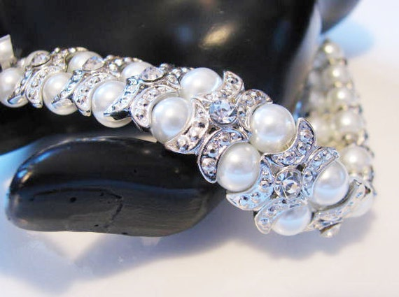 Clear Rhinestones and Faux Pearl  Double Strand Bracelet  Wedding Jewelry