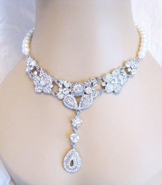 Vintage Inspired Necklace in Antique silver tone and White Swarovski Pearls  Great wedding Bridal Jewelry