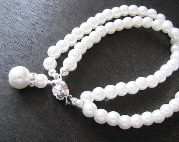 resv for Brooke Double Strand White Swarovski Pearl Bracelet  With Matching charm  Wedding Jewelry