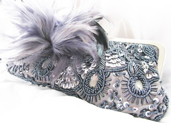 resv for MammaZucchero  Grey Sequin Feather accent Wedding Bag Clutch Formal Wear