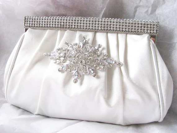 White Satin Fabric Wedding Bridal Bag Clutch Formal Wear  with Removable Brooch