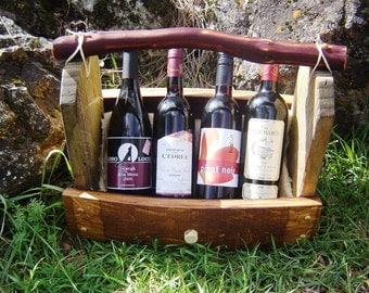 Rustic 4 Bottle Wine Display Basket