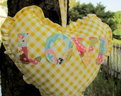 Heart shape pillow - yellow gingham with LOVE applique wall hanging - designers fabric