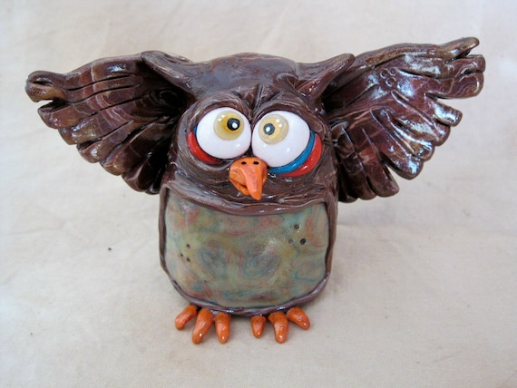 Mad Hooter Owl Polymer Clay Sculpture