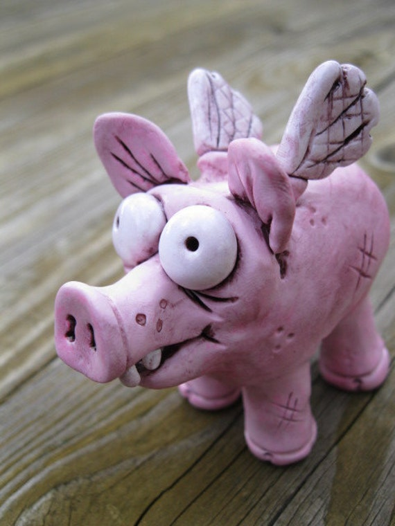 Flying Pig Polymer Clay Sculpture