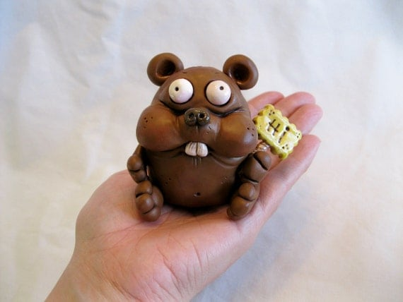 Happy Critter Polymer Clay Sculpture