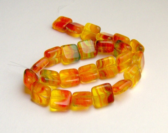 5 Pieces Fabulous Orange and Yellow with Various Flecks of Green Chicklet Square Glass Beads 8mm