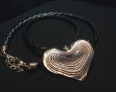 Multiple Color Glass Heart Leather Necklace