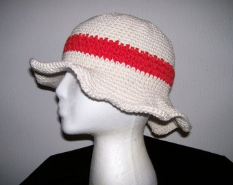 FloppyBrimmed CreamColored Cotton Crochet Hat