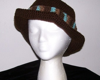 Chocolate Brown Fedora Crocheted in Cotton Yarn