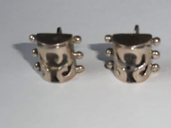 Taxco Mexican Sterling Silver Earrings Marked AE 925 Vintage