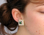 Vintage 1950s Earrings - Sparkle Square with Emerald and Rhinestone's