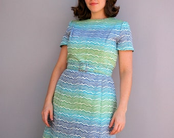 Vintage 1960s Dress - Wave Runner -  Blue and Green Ombre Nieman Marcus Dress Set
