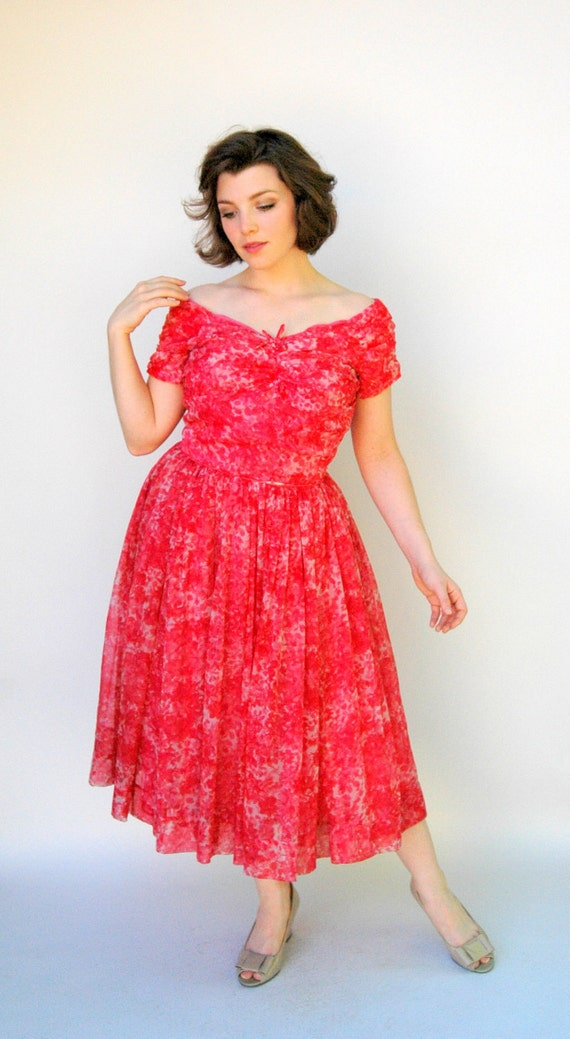 Vintage 1950s Dress - Cherry Tree - Pink and Red Silk Floral Full Skirted Party Dress