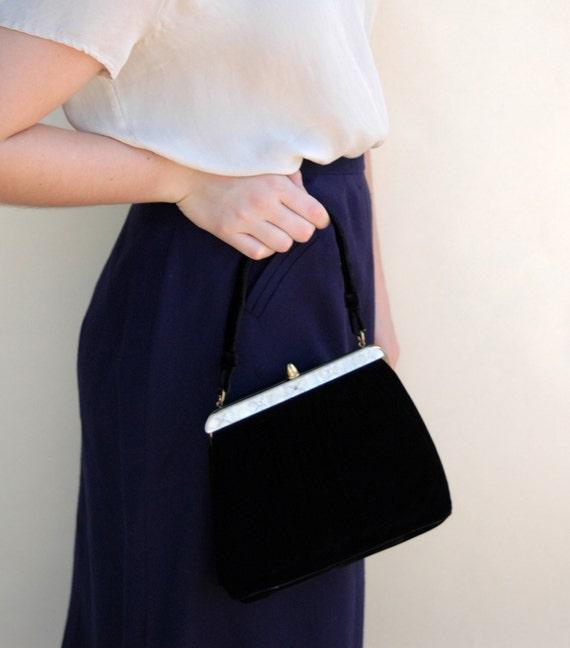 SALE Vintage 1940s Handbag - Black Velvet Formal Handbag