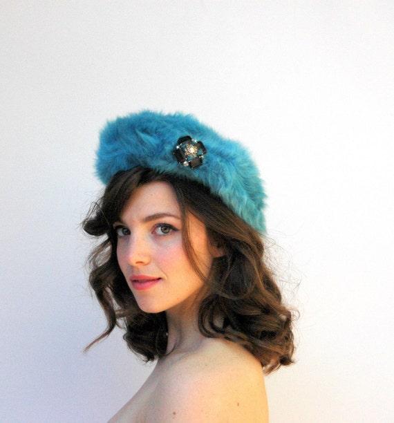 Vintage 1960's Hat - Blue Raspberry - Bright Blue Soft Angora Beret