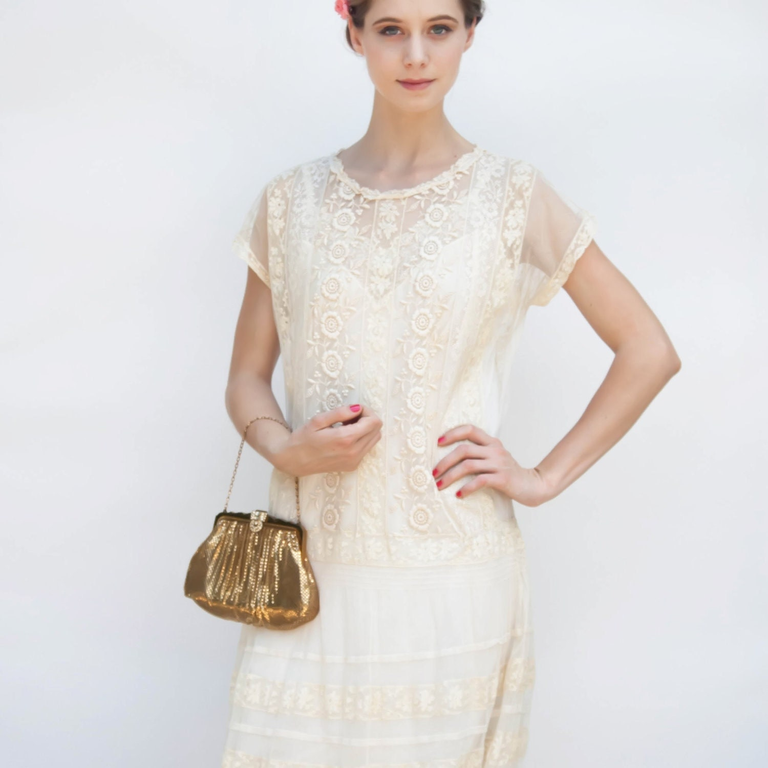 Vintage 1920s wedding dress great gatsby flapper ecru lace for Vintage wedding dresses 1920s
