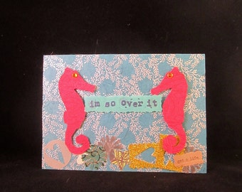 collage greeting card - seahorses