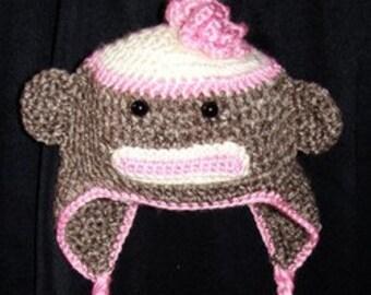 Sock Monkey Earflap Hat for Newborn