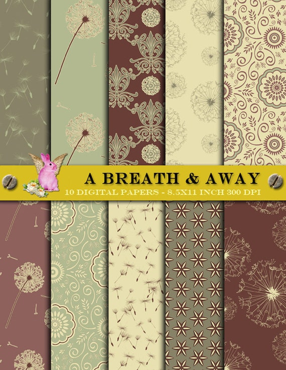 A Breath and Away --  8.5x11 inch 300 dpi -- 10 floral digital scrapbook papers pack  invite blog web site --  commercial use  //  DP028