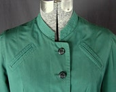 Vintage, Retro Boho, Nehru, Green Raincoat, Size 12