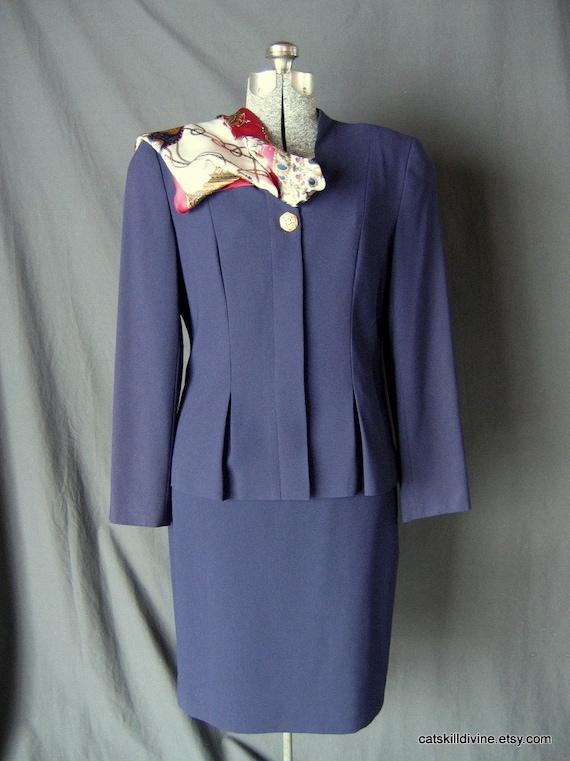 Vintage Liz Claiborne Womens Blue Suit Silk By Catskilldivine