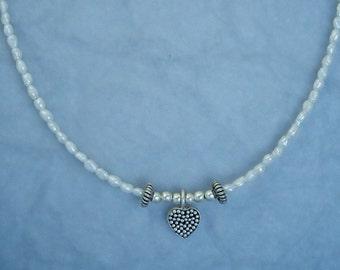 Tiny Textured Heart Necklace NE80