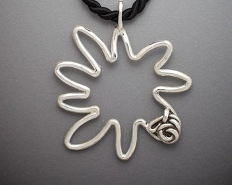 Large Sterling Sun  Pendant with Twisted Knot Accent on Twisted Black Cord