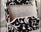 Shabby Chic Damask Wooden Napkin Recipe Card Holder Decoupage Upcycled