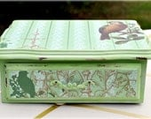 Upcycled Mint Green Jewelry Box Spring Bird, OOAK Decoupage Vintage Shabby Chic