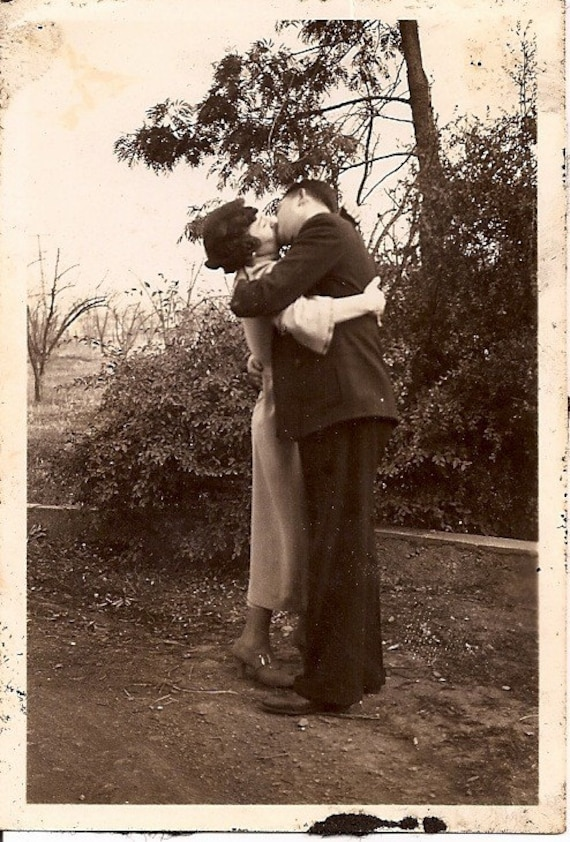Portrait Of Lovely Couple Kissing Beautiful Vintage