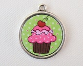 Custom Pet I.D. Tag, Pink Cupcake on Silver Double Sided Tag