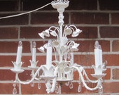 Vintage White Metal Chandelier w/6 arms, crystals, floral accents - SALE