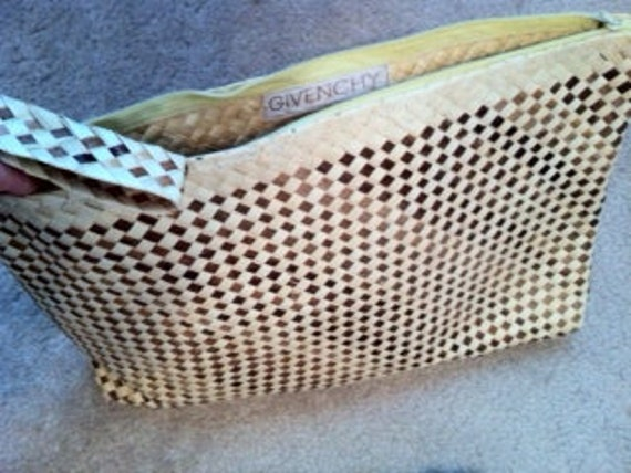 Vintage GIVENCHY neutral brown straw OVERSIZED clutch tote purse handbag
