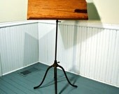 Music Stand From Reclaimed Wood And Ornamental Iron