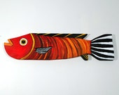 Reclaimed Wood Fish Decor Painted Red Folk Art