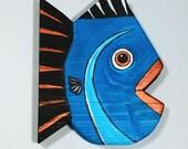 Fish Decor Barn Wood Painted Turquoise