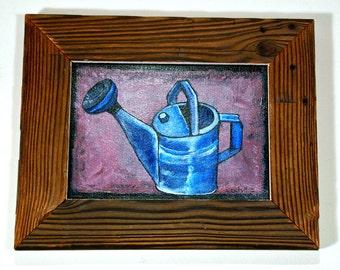 Garden Art Watering Can Painting Reclaimed Wood Frame Mississippi Folk Art