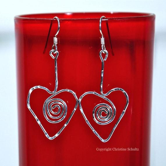 Silver Heart Earrings Pierced