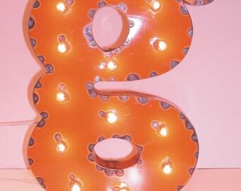 Orange g Vintage Industrial Metal Sign Letters & Lights
