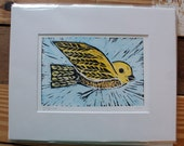 WATER COLORED - Flying Bird -  hand pulled print - Free Shipping in USA - print no. 73