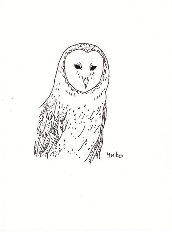 Line Drawing Etsy : Items similar to barn owl line art print on etsy