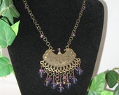 Tribal Necklace--Bronze and Purples with handcrafted chain Made in USA