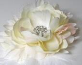 Ivory Rhinestone Feather Flower Blossom Hair Clip Fascinator