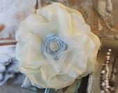 SALE Bridal Hair Flower, Wedding, Bridal, Headpiece, Fascinator, Hair, Accessories, Ivory, Blue, Pearl, Ready to Ship