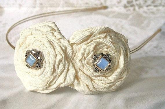 Ivory Bridal Flower Headband, Blue Beaded,  Hair Flowers, Bridal, Wedding Headpiece, Hairpiece, Floral, Hair Accessory, Ivory Wedding